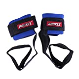 Magideal Weight Lifting Bar Straps Gym Bodybuilding Wrist Support Wraps Bandage Blue