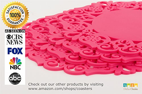 Rose Silicone Coasters - Set Of 4 - Elegant Hollow Out Design Perfect Home Furnishings - High Quality, Good Grip & Value - Best Match To Fine Furniture/Cup/Bar/Tea/Wine/Beer/Drinks - Unique Kitchen Decoration - 100% Satisfaction Guarantee!