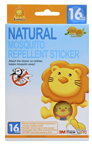 Simba Natural Mosquito Repellent Sticker (16pcs) with Citronella and Lemon Extract/ No DEET, Extra Safe! (1 PC)