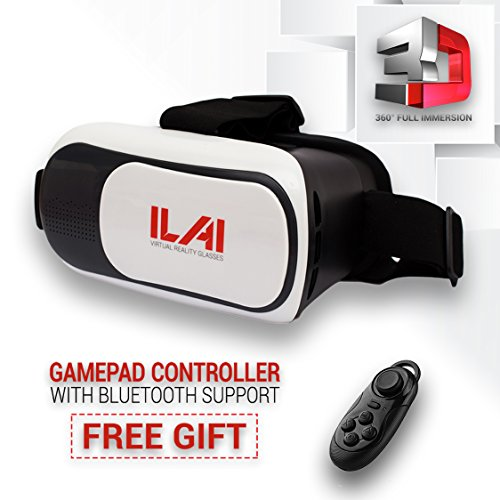 3D VR Headset Technology - Best Virtual Reality Bluetooth Glasses For Video Games & Movies with VR Controller by ILAI - Focal and Pupil Distance Adjustable - For all Smartphones within 3.5~6.0 inches
