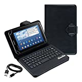 Kwmobile® High Quality Universal Leather Case with integrated Bluetooth Keyboard for Samsung Galaxy Tab 2 7.0 P3110 / P3100 / P3113 in Black- QWERTY Keyboard