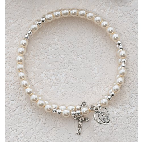 First Holy Communion Childrens Girls Rosary Bracelet Full Wrap Sterling Silver Miraculous Medal & Cross Charms.