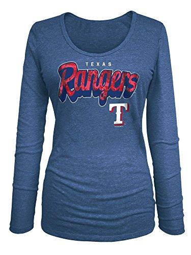 MLB Texas Rangers Women's Long Sleeve U-Neck Tee, Small, Blue (Texas Rangers Shirts Women compare prices)