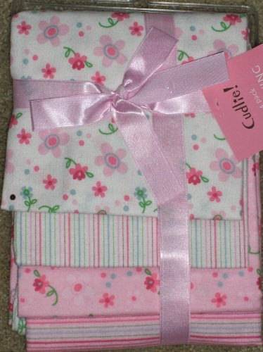 Cudlie 4 Pack Baby Girl Receiving Blankets Flowers Stripes Pink Dots