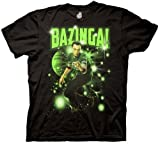 Big Bang Theory Sheldon Glowing Bazinga Stars Men's Black T-shirt (Large)