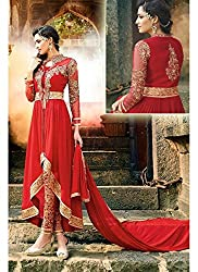 Rozdeal Women's Georgette Semi-Stitched Gown (RDHP169-7108_Red)