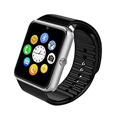 Smart Watch,Soobuy Bluetooth SmartWatch HD Touch Screen Wristwatch Phone With SIM/TF Card Slot Sync to Samsung ,LG,HTC,Sony andiPhone 5s/6/6s 6plus Smartphones (Silver)