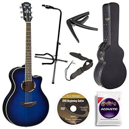 Yamaha APX500III OBB Acoustic/Electric Cutaway Guitar, Oriental Blue Burst Bundle with Case, Quick Start DVD and Accessories (Yamaha Acoustic Electric Guitar compare prices)