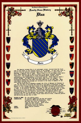 Diaz Coat Of Arms/Crest And Family Name History, Meaning & Origin Plus Genealogy/Family Tree Research Aid To Help Find Clues To Ancestry, Roots, Namesakes And Ancestors Plus Many Other Surnames At The Historical Research Center Store front-992065