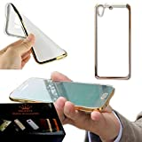 Majesty Silicon Transparent Back Cover for HTC Desire 628 Dual Sim - Golden Edges
