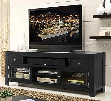 76 in. TV Cabinet in Gunmetal Gray Finish