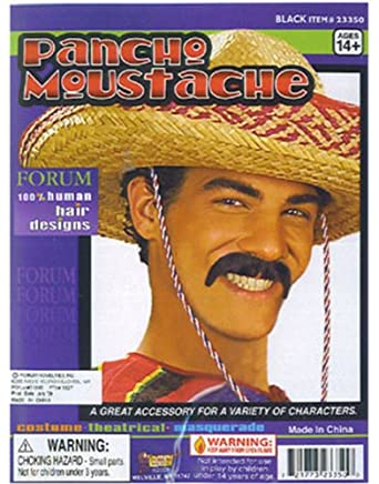 Deluxe Human Hair Black Pancho Mexican Costume Mustache