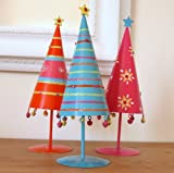 Shabby Chic Christmas Tree Decorations - Pretty Colourful Cone Shaped Metal Christmas Tree Decorations. Set of 3.
