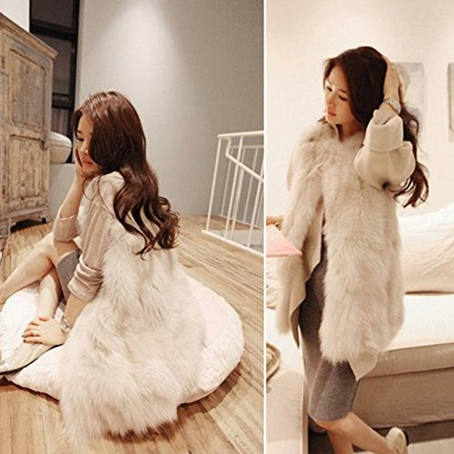 Фото Etosell Lady Faux Fur Vest Waistcoat Long Hair Winter Warm Coat Outwear curved faux fur vest