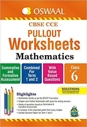 Oswaal CBSE CCE Pullout Worksheets Mathematics for Class 6: Amazon ...