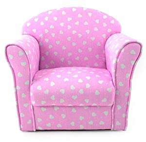 Kids childrens pink with white hearts fabric tub chair for Kids pink armchair