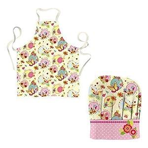 cucina per bambini cappello da chef e grembiule - a farfalle: Amazon ...
