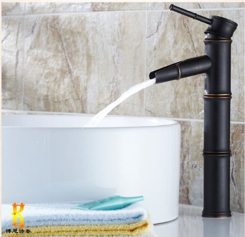 Rozinsanitary Bamboo Joint Waterfall Oil Rubbed Bronze Bathroom Vessel Faucet Single Lever Mixer Tap