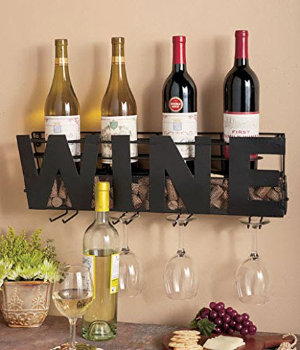 Metal Wall Mount Wine Bottle Rack: Hold Wine Corks & Wine Glasses