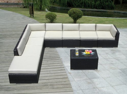 Genuine Ohana Outdoor Patio Sofa Sectional Wicker Furniture 9pc Couch Set with Free Patio Cover