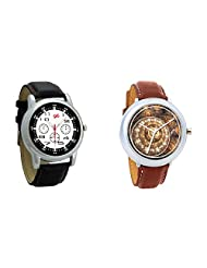 Gledati Men's Black Dial And Foster's Women's Brown Dial Analog Watch Combo_ADCOMB0001841