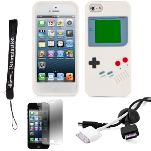White Game Boy Durable Silicone Protective Skin Case For Apple Iphone 5 Ios (6) Smart Phone + Black Cord Organizer + Apple Iphone 5 Screen Protector + An Ebigvalue Tm Determination Hand Strap