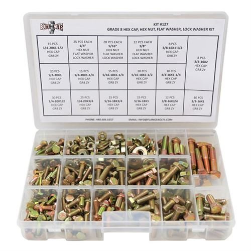 Grade 8 Hex Cap Bolts Screws, Nuts, Washers, Lock Washers Assortment Kit - 380 Pieces! (Sae Bolt Assortment compare prices)
