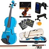 Mendini Full Size 4/4 MV-Blue Solid Wood Violin with Tuner, Lesson Book, Shoulder Rest, Extra Strings, Bow and Case, Metallic Blue
