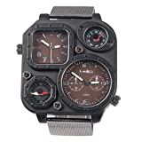 【 オウルム 】Oulm 腕時計 メンズシミュレーションロシア軍ウォッチ - スクエアダイヤル スチールの時計 ブラウンバンド