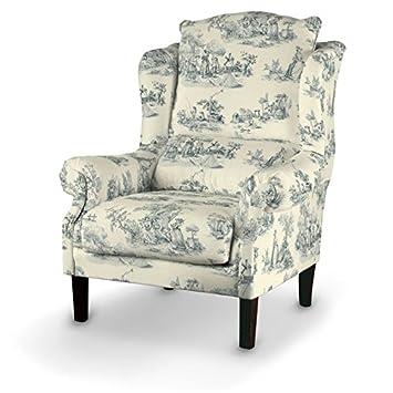Dekoria Sessel 63 x 115 cm creme- blau