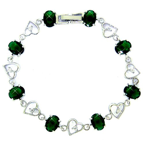 myCullinan Pleasant Oval Cut White Gold Plated Silver Simulated Emerald Diamond Accent Bracelet BC407