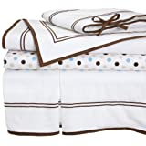 Pinzon Baby Combed Cotton Percale with Hotel Stitching 4-Piece Crib Set, Chocolate/Blue ~ Pinzon