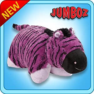 "Pillow Pets Authentic 30"" Purple Zebra, Folding Plush Pillow- Jumbo"