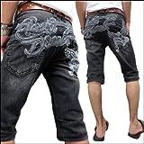 クラウド72(CLOUD72)メンズ デニム#580-13 ハーフパンツ (ストレッチデニム) イーグル ブラックジーンズ 刺繍 ショートパンツ 短パン レッドペッパー REDPEPPER