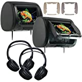 "Concept CLD-903 (2)9"" Headrest Monitors w/DVD Players &(2) Wireless Headphones"