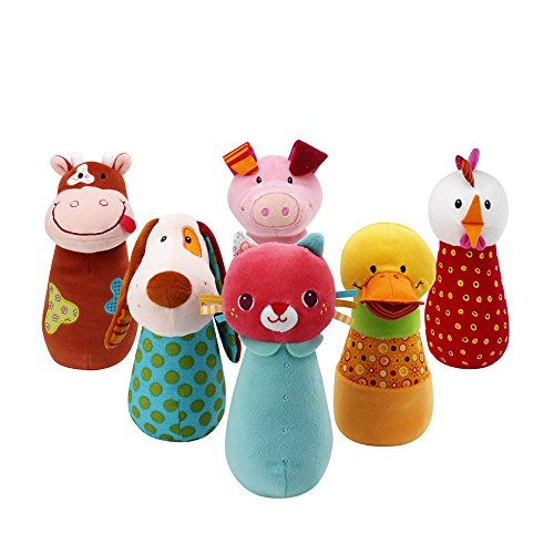 Lilliputiens 86280 - Juego de bolos infantil, diseño de animales