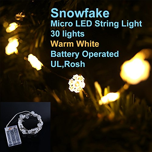 Lidore® Micro Led 30 Glitter Frosted Snowflake Xmas Tree Lights. Warn White. 3Aa Battery Operated. 7Ft Long Silver Coating Ultra Thin String Wire.Timer Function