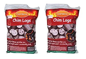 2 x Gardeco Chimenea Logs Fire Logs Outdoor Chimenea Fire Wood - 10kg Per Bag