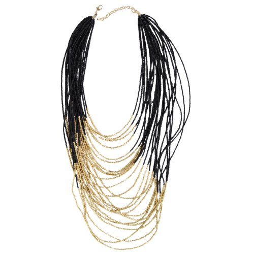 Marco Francisco Multi Strand Black Bead and Gold Overlay Necklace