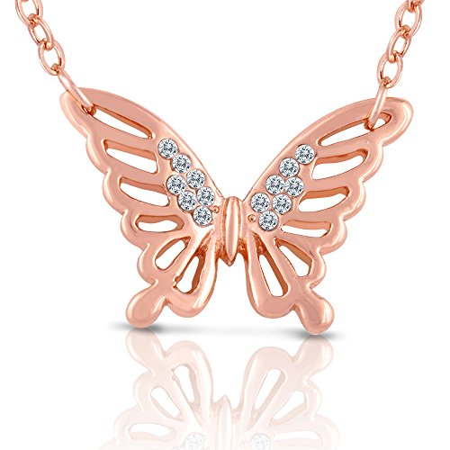 [Butterfly Necklace For Girls - Rose Gold Plated - Jewelry for Teens, Tweens, Young Girls, Kids,] (Unique Costume Ideas For Teenage Girls)