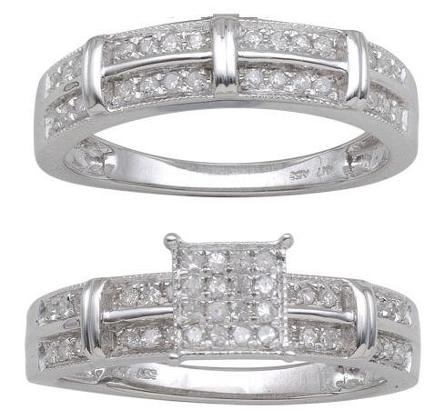 Sterling Silver 0.50cttw Diamond Bridal Set