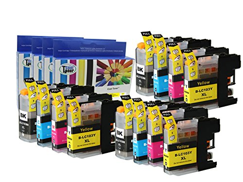 12 Pack Compatible Ink Cartridges For Brother Lc103 Lc 103 (3Bk 3C 3M 3Y) Dcp-J152W Mfc-J245 Mfc-J285Dw Mfc-J4310Dw Mfc-J4410Dw Mfc-J450Dw Mfc-J4510Dw By Cool Toner
