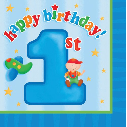 Creative Converting Fun at One Happy First Birthday Boy Beverage Napkins, 16 Count