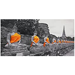 Oriental Furniture Golden Buddhas Canvas Wall Art