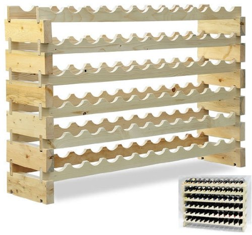 Homcom 72 Bottle Solid Wood Wine Storage Display Rack front-469774