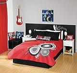 Red Black Guitar Comforter Bedding Set Twin