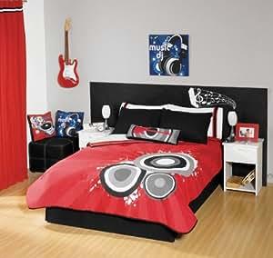 Red Black Guitar Comforter Bedding Set Full/Queen
