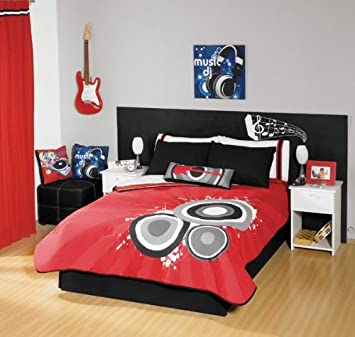 Red Black Guitar Comforter Bedding Set Full/Queen