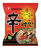 Nongshim Shin Noodle Ramyun Gourmet Spicy, 4.2-oz. Countages, 20-Count