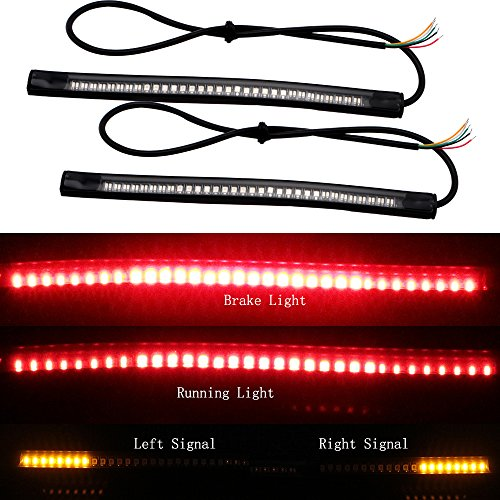 EverBrightt 2-Pack Red + Yellow 3528 + 3014 48SMD LED Motorcycle Light Strip For Taillight Brake Light Turn Signal Lamp DC 12V (Off Road Rear Tail Light Led Bar compare prices)